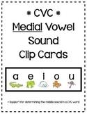 CVC Short Vowel - Medial Sounds Clip Cards