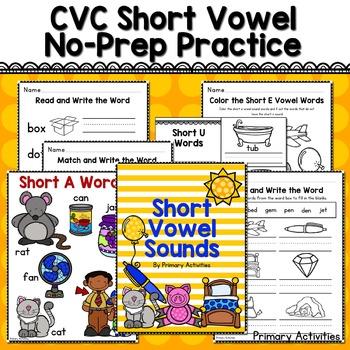 CVC Short Vowel No Prep Practice Pages