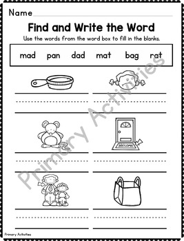 CVC Short Vowel No Prep Practice Pages