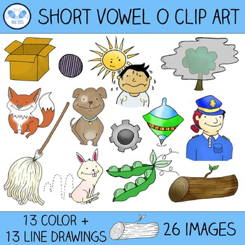 Short O Clip Art - 13 CVC Words, 26 Images