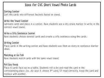 CVC Short Vowel Photo Cards