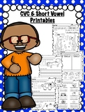 CVC & Short Vowel Printables • No Prep! • Back to School &