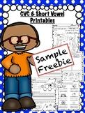 CVC & Short Vowel Printables • No Prep! • (Sample FREEBIE)