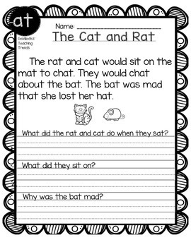 CVC Short Vowel Reading Comprehension Passages