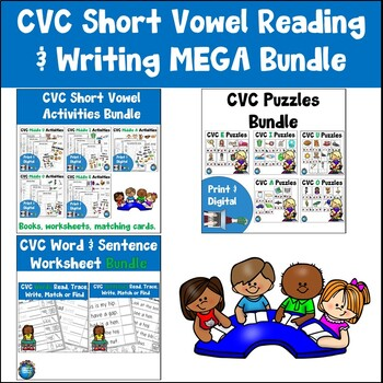 CVC Short Vowel Reading and Writing Bundle Distance Learning