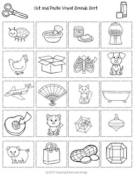 cvc short vowel sort cut and paste activity by growing roots and wings. Black Bedroom Furniture Sets. Home Design Ideas