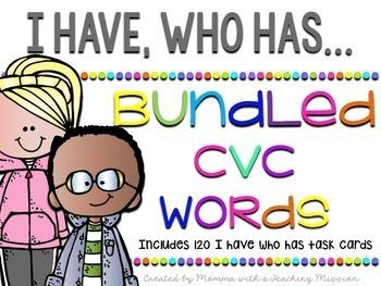 CVC Short Vowel Sounds BUNDLED I have who has Game