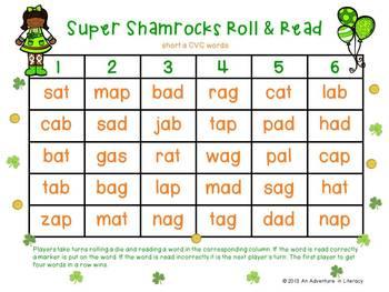 St Patrick's Day CVC Short Vowel Roll & Read