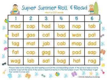 CVC Short Vowel Super Summer Roll & Read