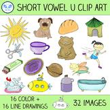 Short U Clip Art - 16 CVC Words, 32 Images