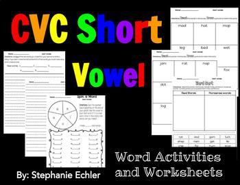 CVC Short Vowel Word Activities and Worksheets