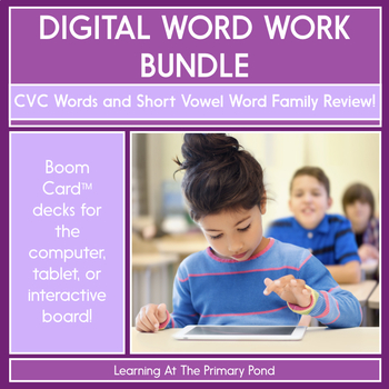CVC & Short Vowel Word Families Review - Digital Phonics Activities |BOOM Cards™
