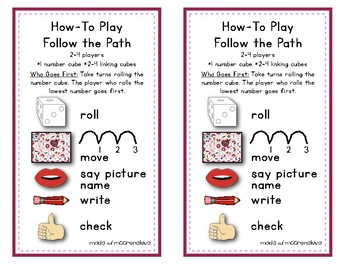 CVC Games Word Work {Follow the Path - Hearts}