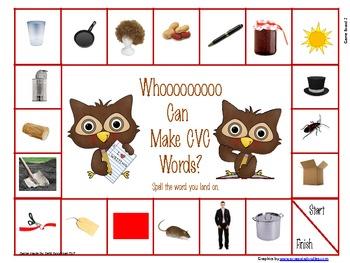 CVC Short Vowel Words Game Board and Worksheet