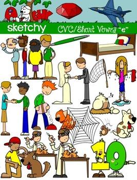 CVC Short Vowel E / Word Families Clip art