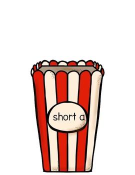 CVC Short Vowels Center Games Popcorn Theme