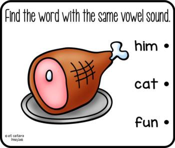 CVC Short a Matching Vowel Sounds Clip Cards Freebie