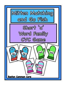 CVC Short 'a' Mittens Matching & Go Fish Games