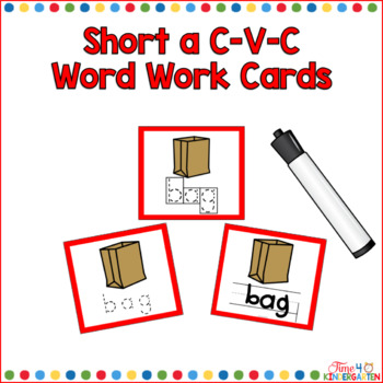 CVC Short a Word Cards for Writing