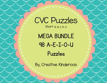 CVC Puzzles- MEGA BUNDLE 98 Short A-E-I-O-U words included!