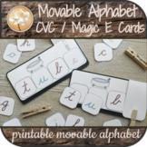 CVC Silent Magic E Picture Cards Montessori Movable Alphabet Cursive Distance