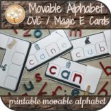 CVC Silent Magic E Picture Cards Montessori Movable Alphabet Print Distance