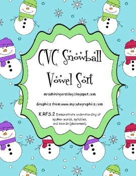 CVC Snowball Vowel Sort - Common Core