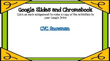 CVC Snowman-A Digital Literacy Center (Compatible with Google Apps)