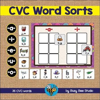 ESL GAME: CVC Sorting Activity: -a-,-o-, -e-, -u-, -i-