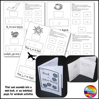 Phonics Activities for Reading Centers or notebooks SHORT VOWELS SOUNDS