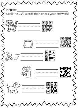 CVC Spell and Scan WITH QR codes