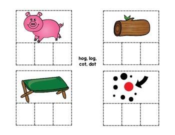 CVC Spelling Cards for -op, -og, and -ot