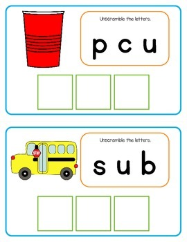 Spelling Scramble Unscramble the letters to make CVC words