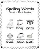 CVC Spelling Words ~ Short A