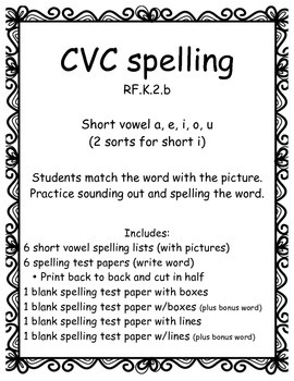 CVC Spelling all short vowels