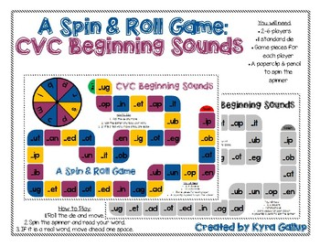 CVC Spin and Roll Board Game: Beginning Sounds