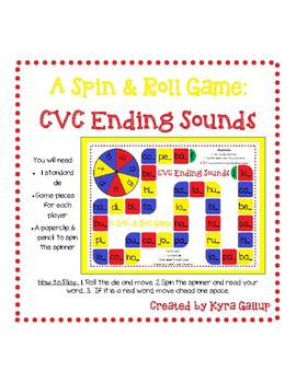 CVC Spin and Roll Board Game: Ending Sounds
