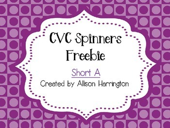 CVC Spinners - Short A Freebie!