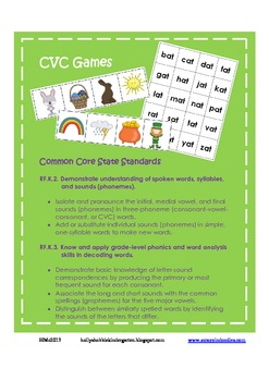 CVC Spring Game ~ Nonsense Words Included (Easter & St.Patrick's Day)