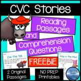 CVC Stories FREEBIE: FREE CVC Reading Comprehension Passages and Questions