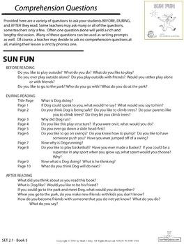 1 Emergent Reader ~ SET 2.1 Book 5 ~ SUN FUN