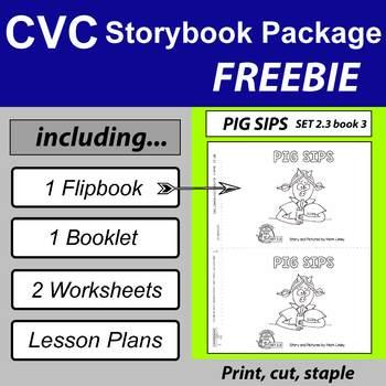 Freebie ~ 1 Emergent Reader ~ SET 2.3 Book 3 ~  PIG SIPS