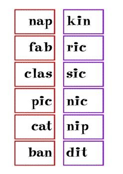 CVC Syllable Pattern Match Up FREEBIE