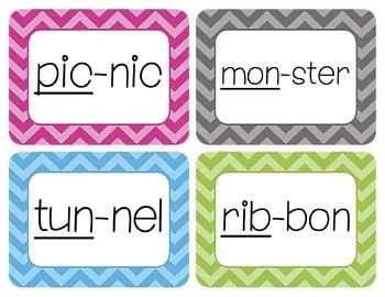 CVC Syllables Word Wall Cards