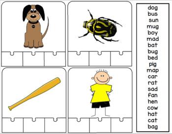 CVC Task Card Puzzles