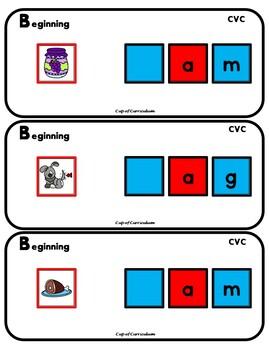 PHONICS TILES: CVC Task Cards for Beginning Sounds