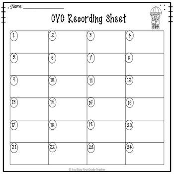 CVC Task Cards Short Vowel E