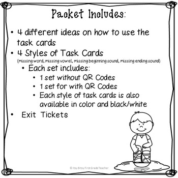 CVC Task Cards Short Vowel O
