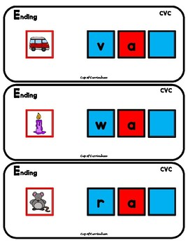 PHONICS TILES: CVC Task Cards for Ending Sounds
