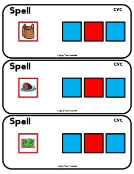 PHONICS TILES: CVC Task Cards for Spelling Practice